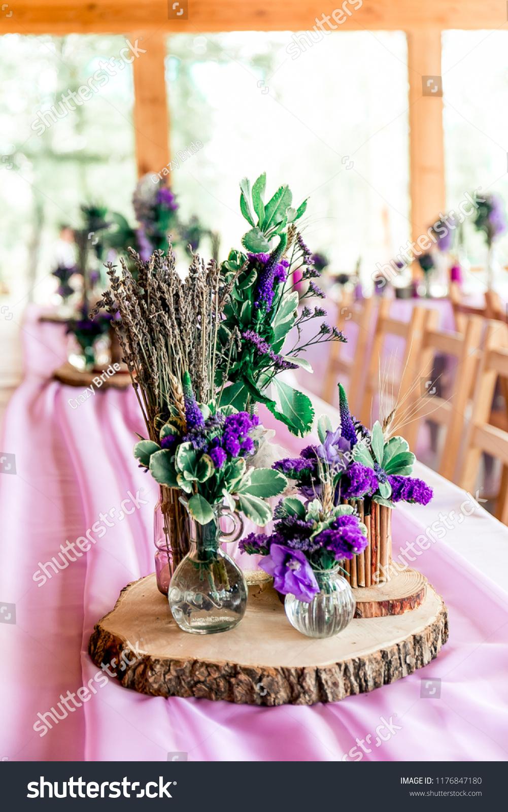 Purple Lavender Wedding Table Decor Dry Stock Photo Edit Now
