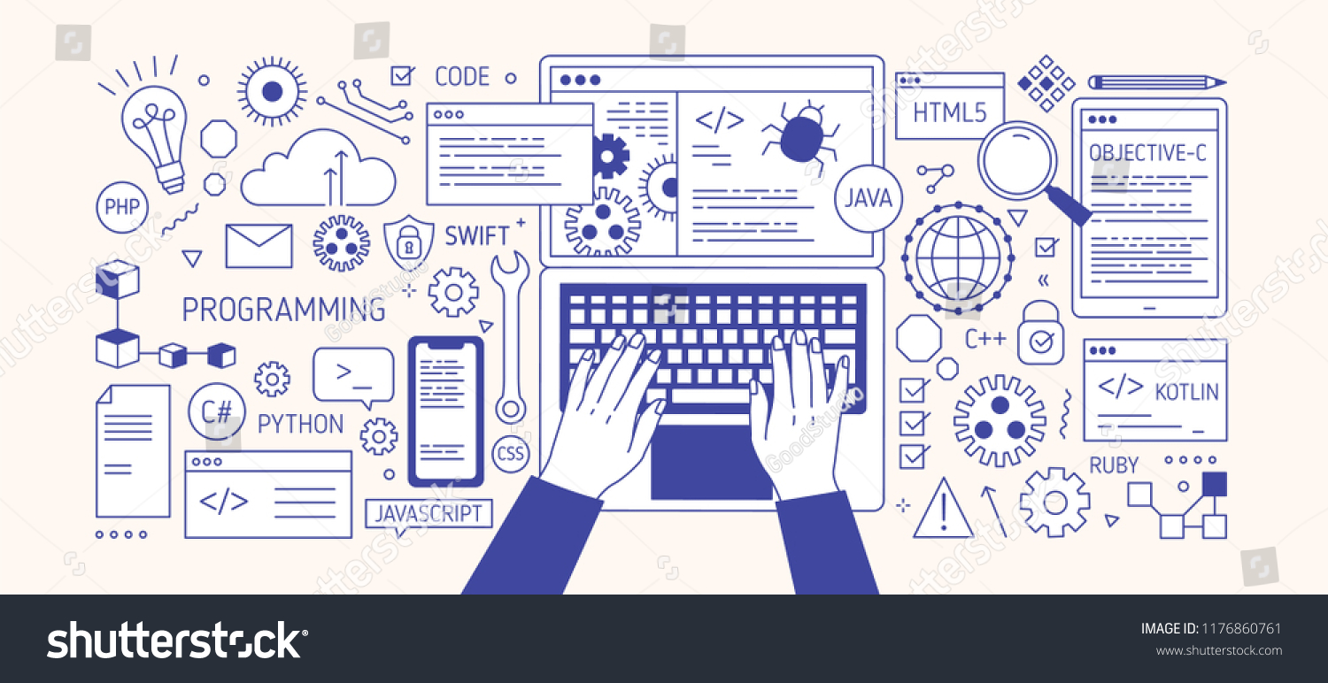 Horizontal Banner Hands Typing On Laptop Stock Vector Royalty Free