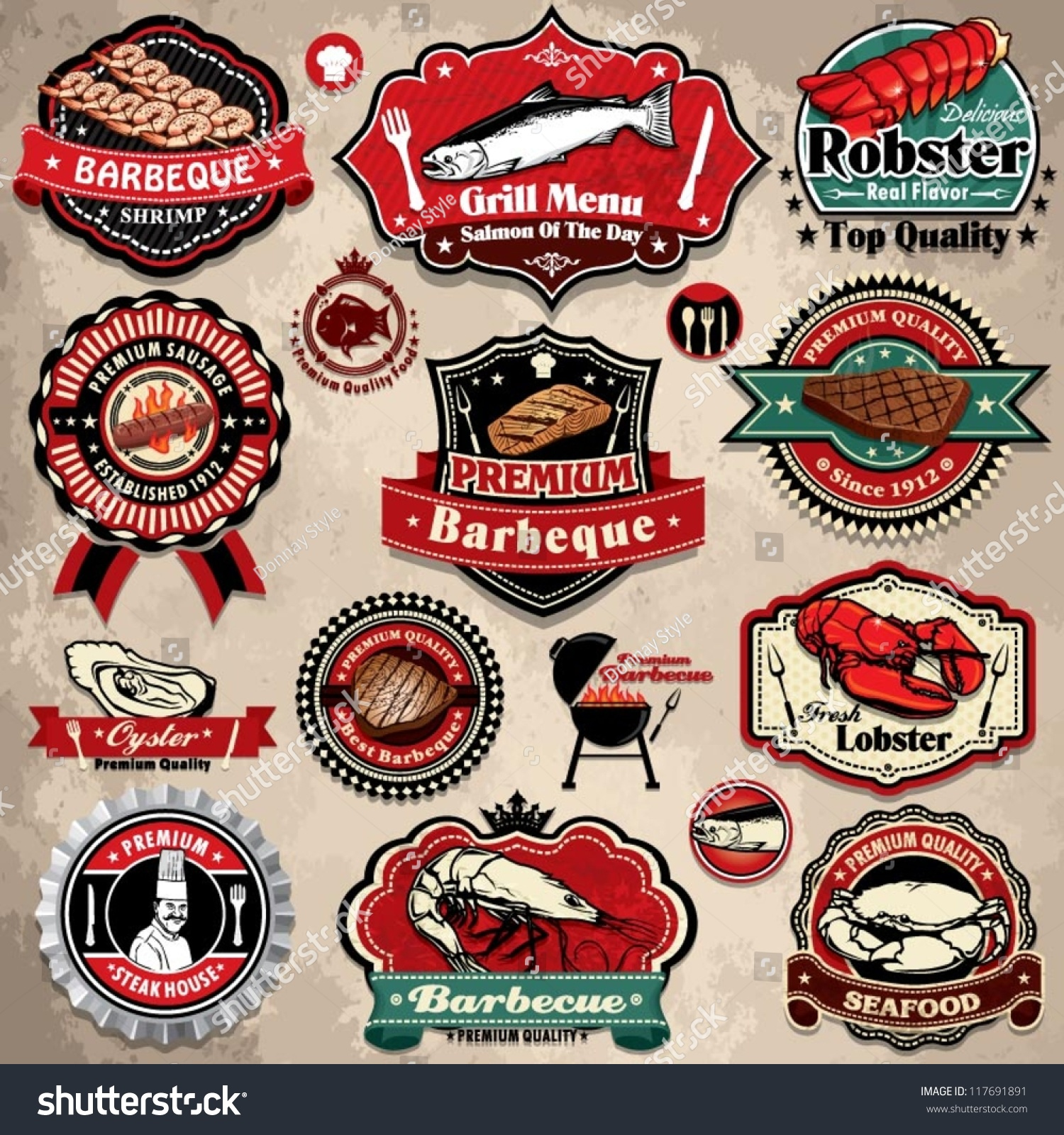 bbq sauce label template - vintage bbq seafood steak labels icons stock vector