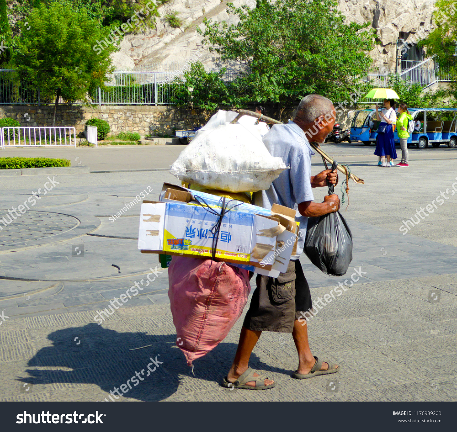 Luoyanghenanchinaaugust 15th2014 Old Man Carrying Bags Stock Photo Edit Now 1176989200