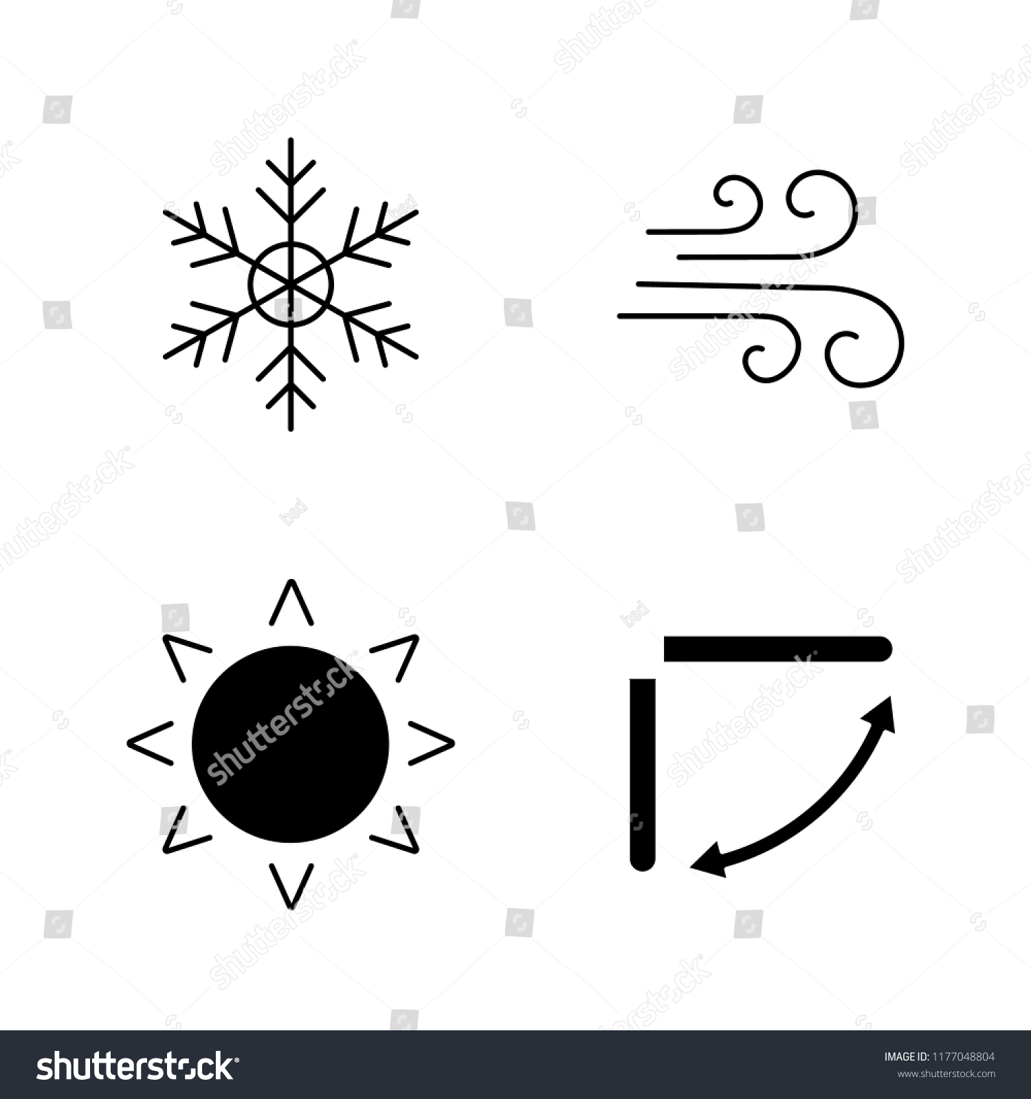 Air Conditioning Glyph Icons Set Snowflake Stock Vector Royalty