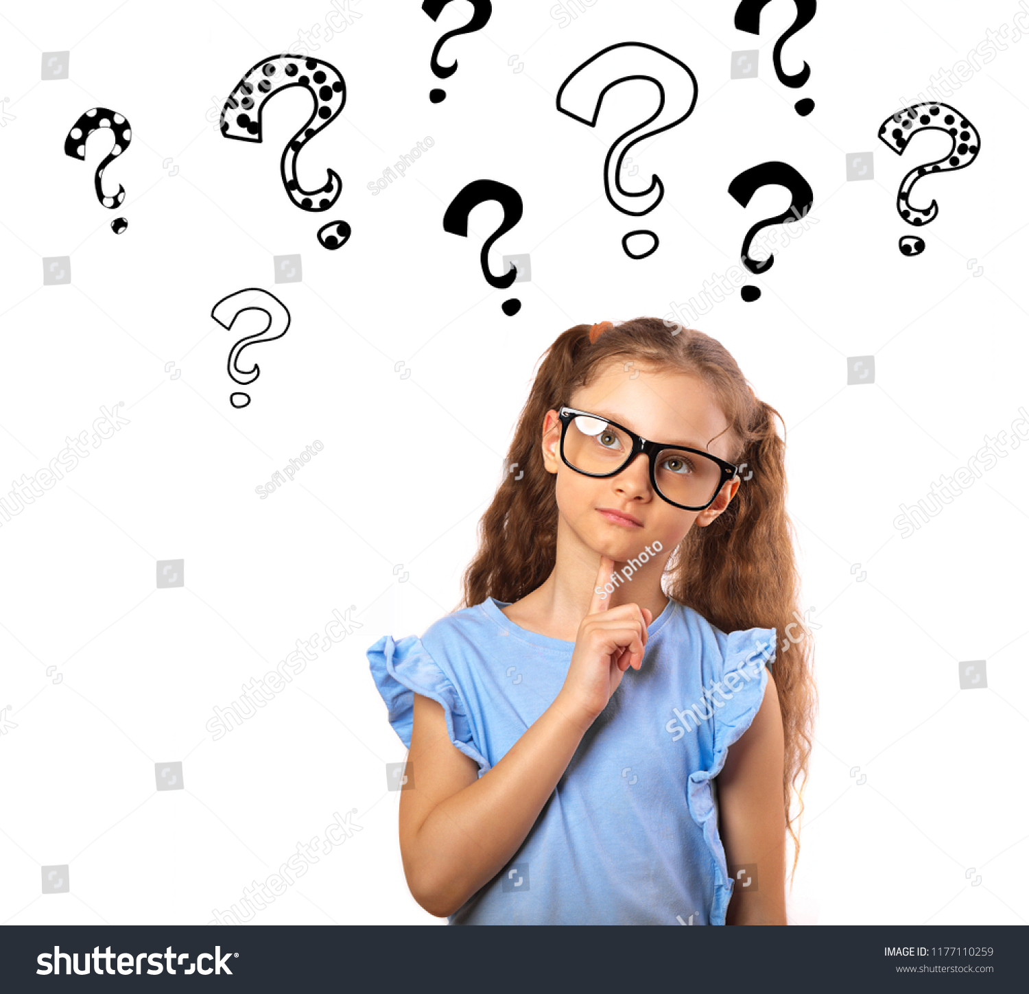 b360f40ddc Fun happy girl in eyeglasses thinking and looking up on many questions mark  illustration above the