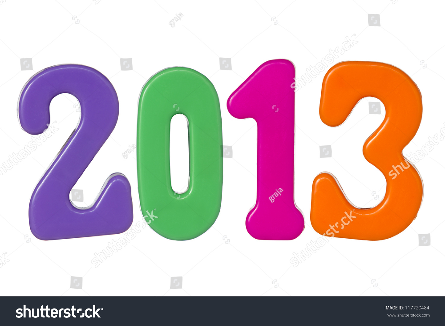 Plastic Color Numbers Shows Year 2013 Stock Photo 117720484 ...
