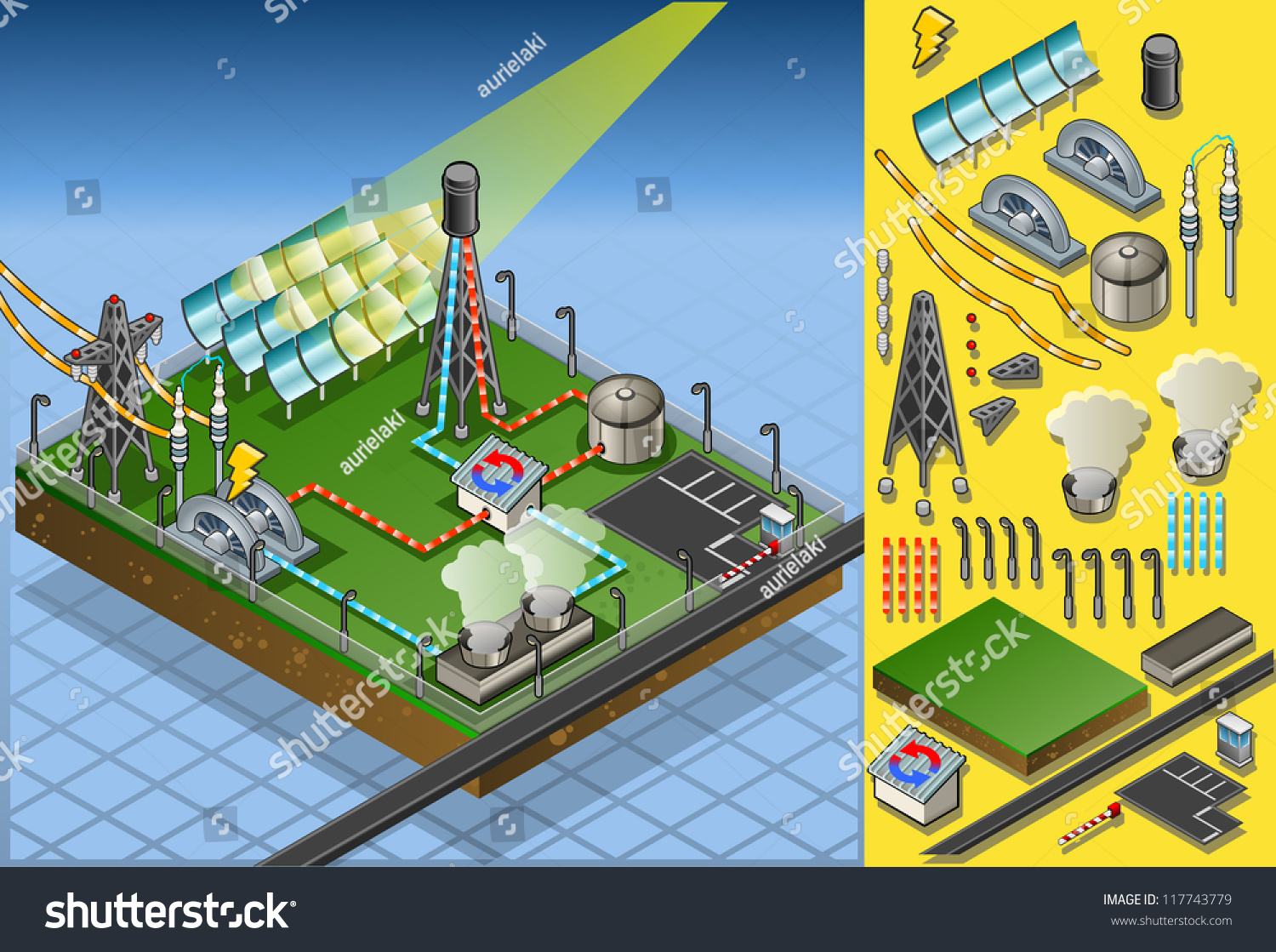 Isometric Building Concentrating Solar Power Systems Stock Vector Homemade Panels Wiring Diagram Csp Plant Farms Electric Station Electricity Grid And