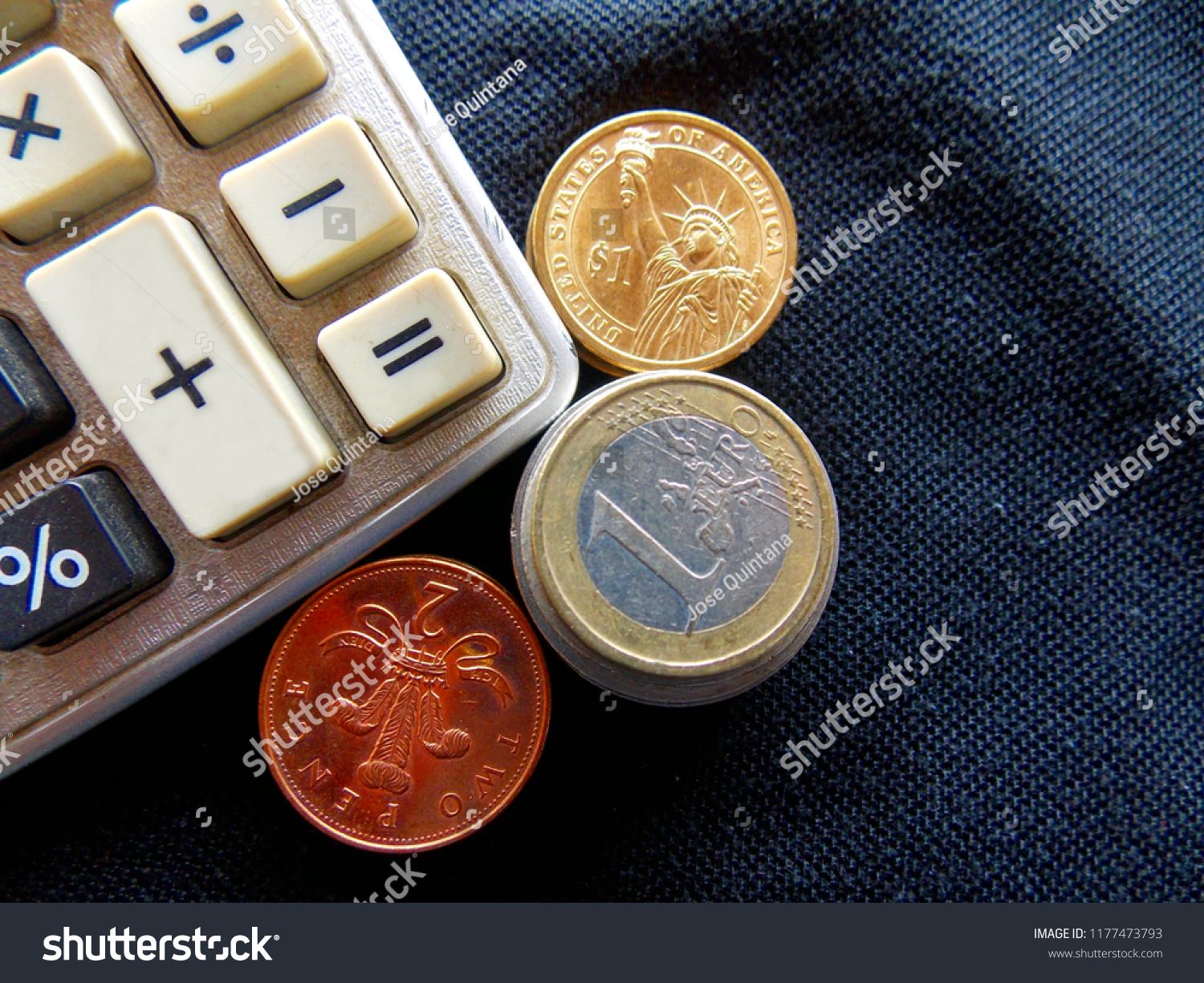 Close-up money and calculator, american dollar banknotes stock.