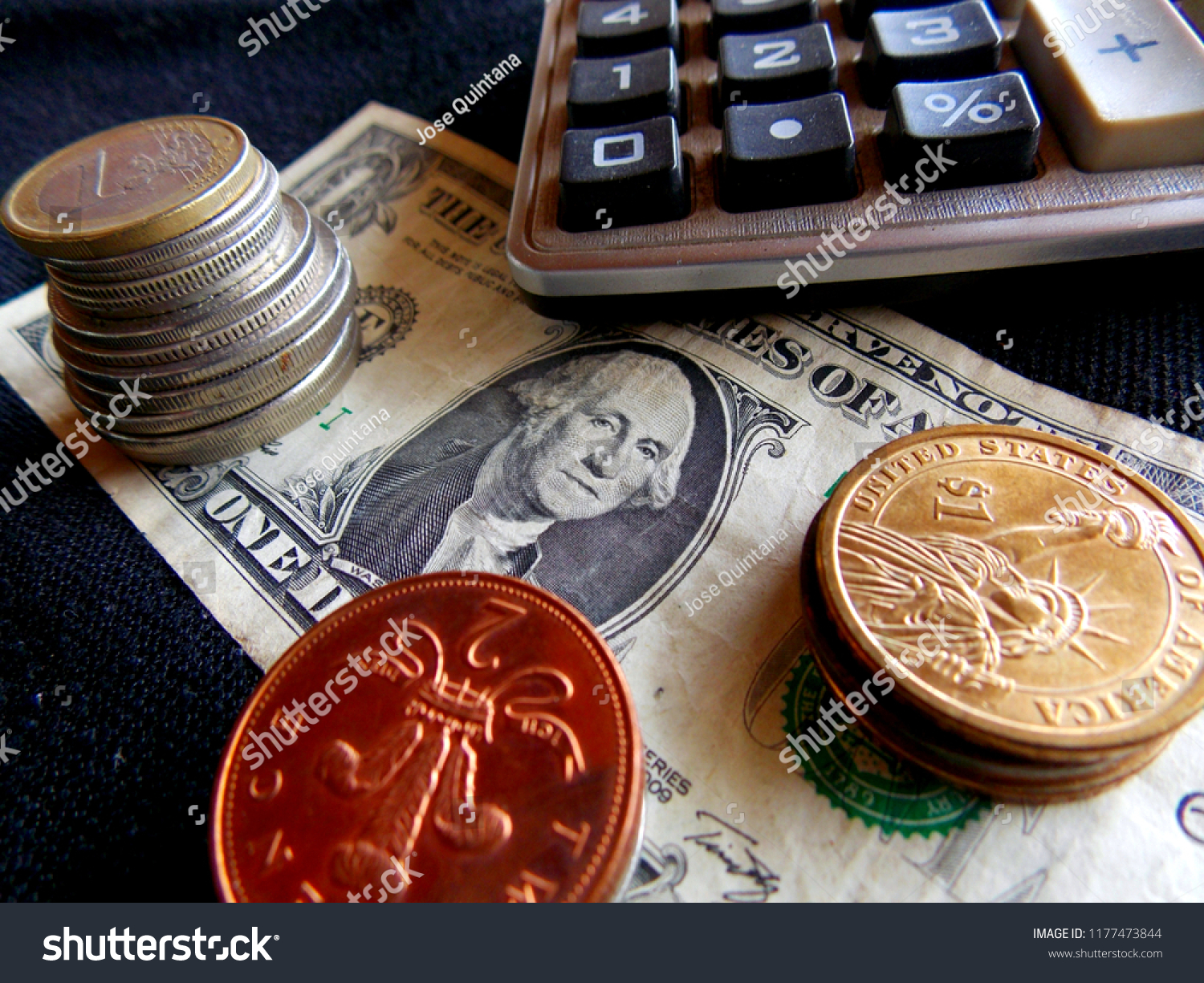 Us tax form and us money with calculator, coin. Editorial photo.