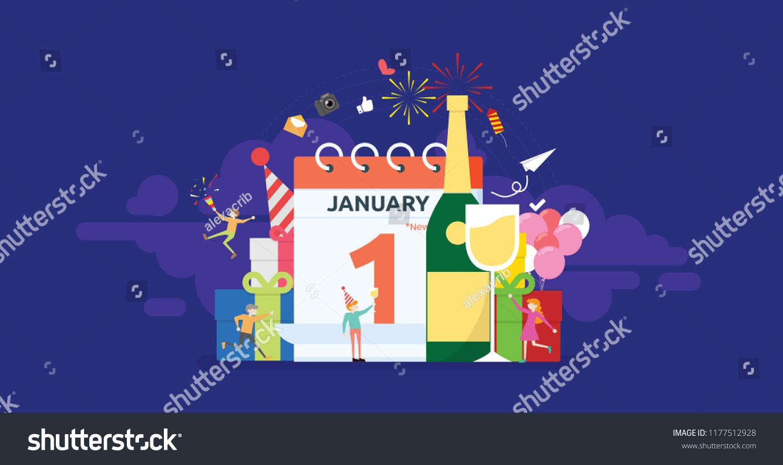 New Year Eve Party Celebration Tiny Stock Vector Royalty Free