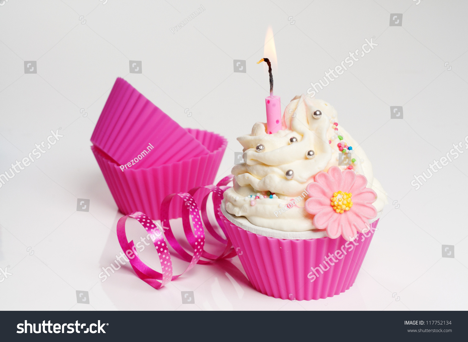 Festive Flower Cupcake Candle Birthday Party Stock Photo Edit Now