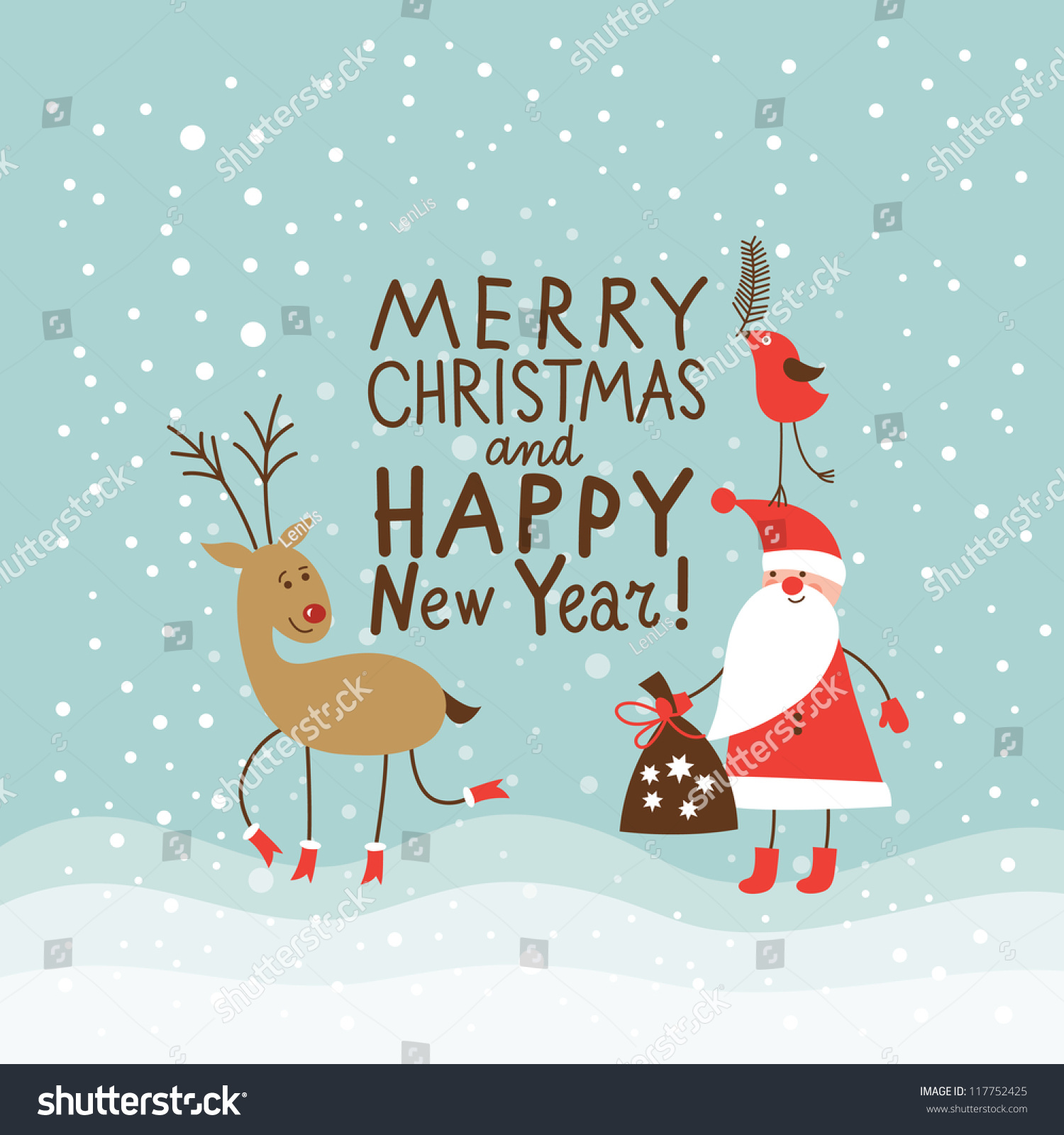 Greeting Christmas And New Year Card Stock Vector ...