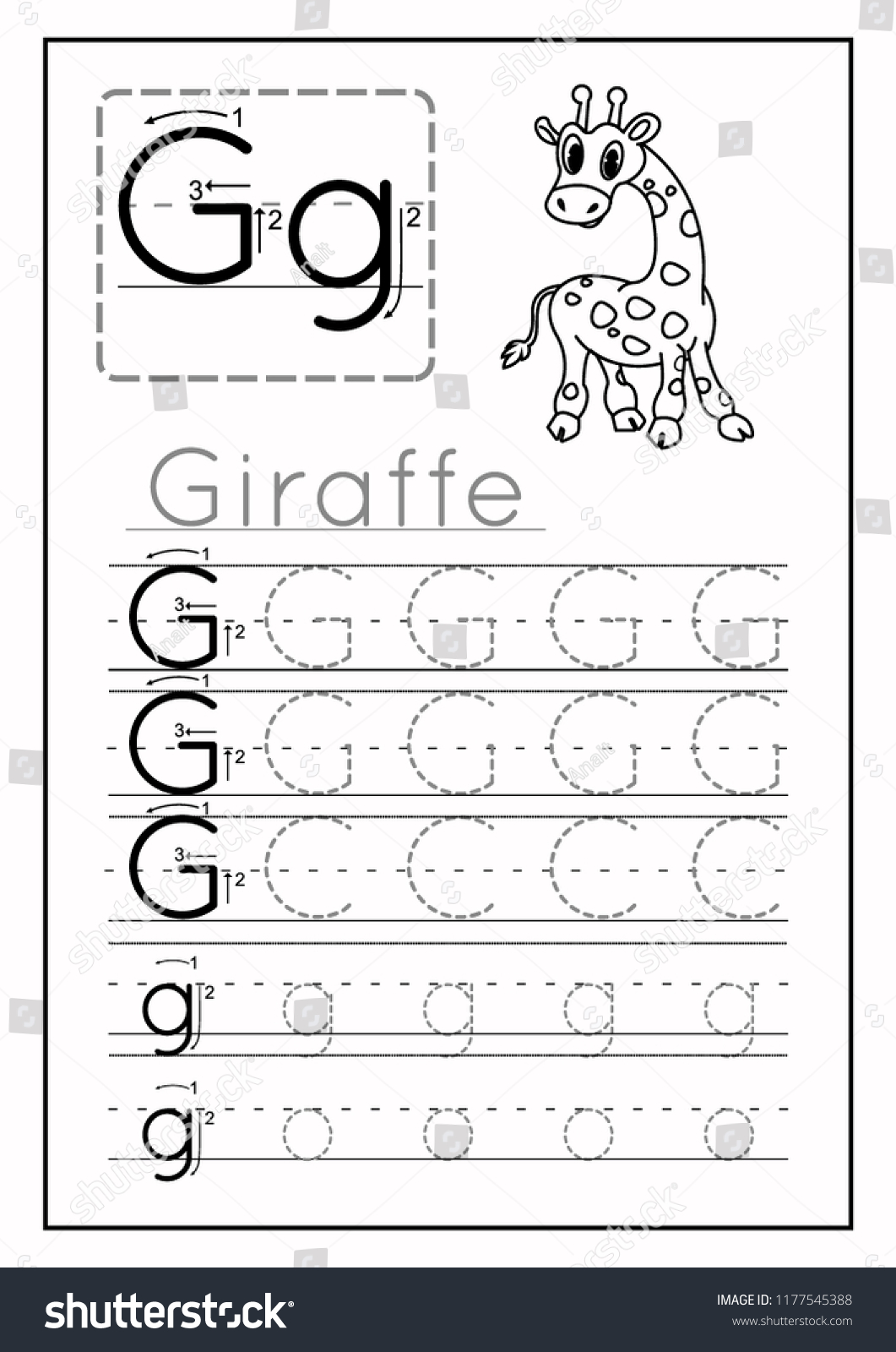 Writing Practice Letter G Printable Worksheet Stock Vector ...