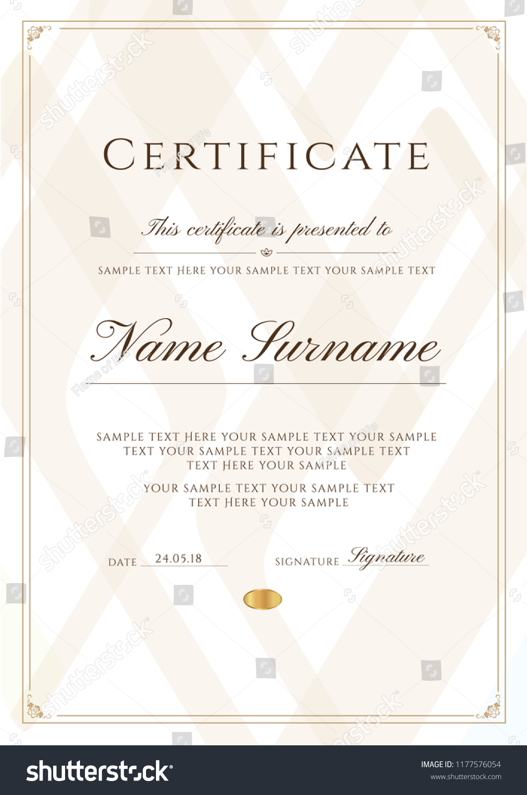 Certificate Template Frame Border Pattern Design Stock Vector
