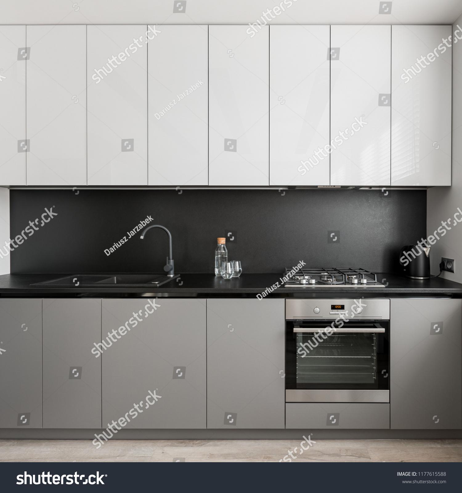 Modern Gray White Kitchen Unit Black Stock Photo Edit Now 1177615588
