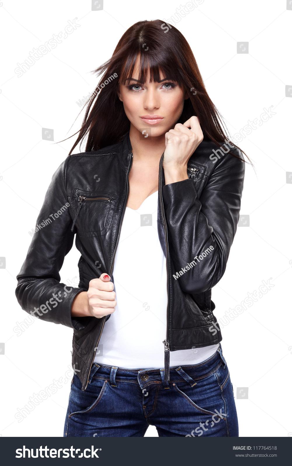 Glamorous Young Woman Black Leather Jacket Stock Photo 117764518