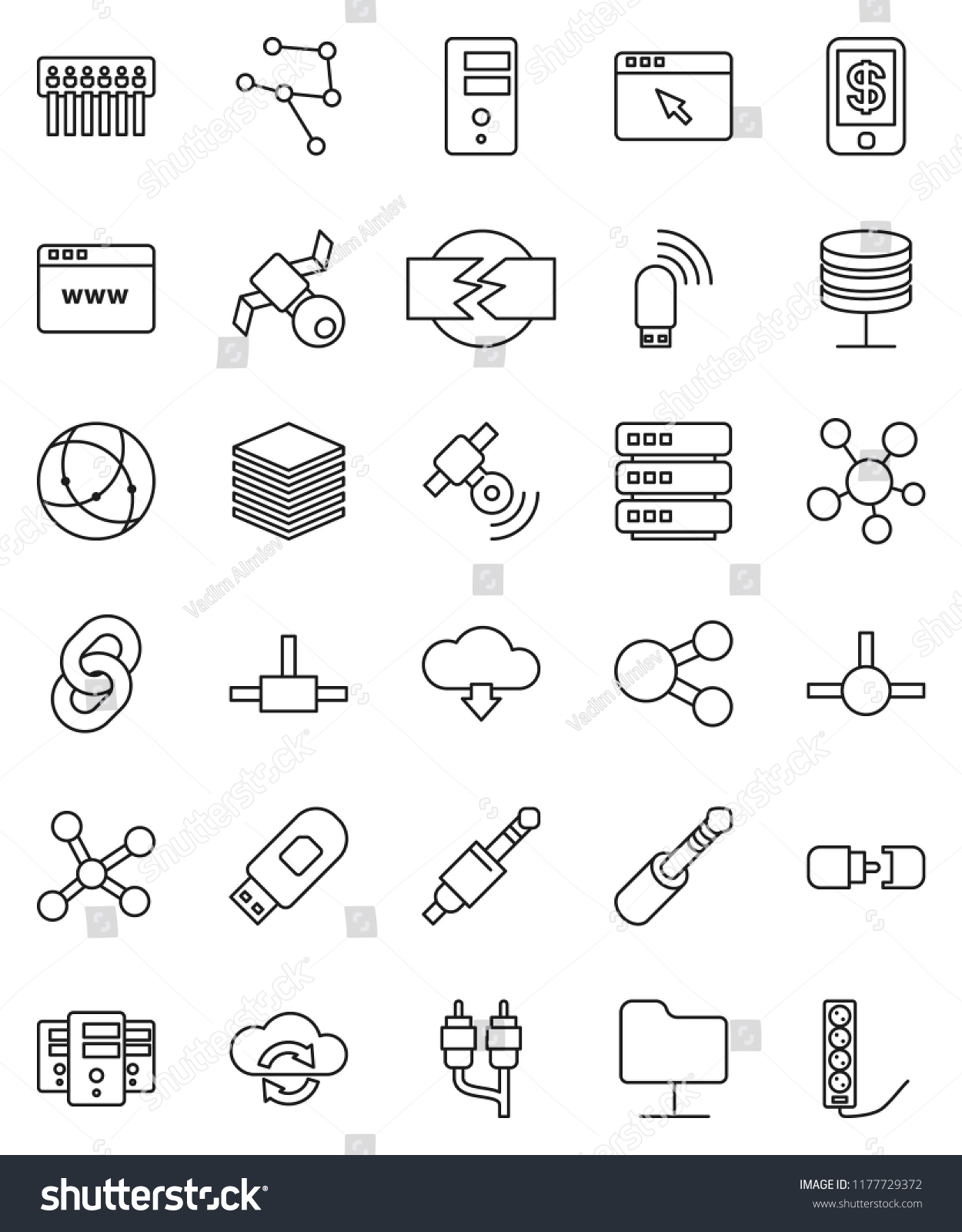 Thin Line Vector Icon Set Satellite Stock Royalty Free Usb To Rca Jack Wiring Satellitie Social Media