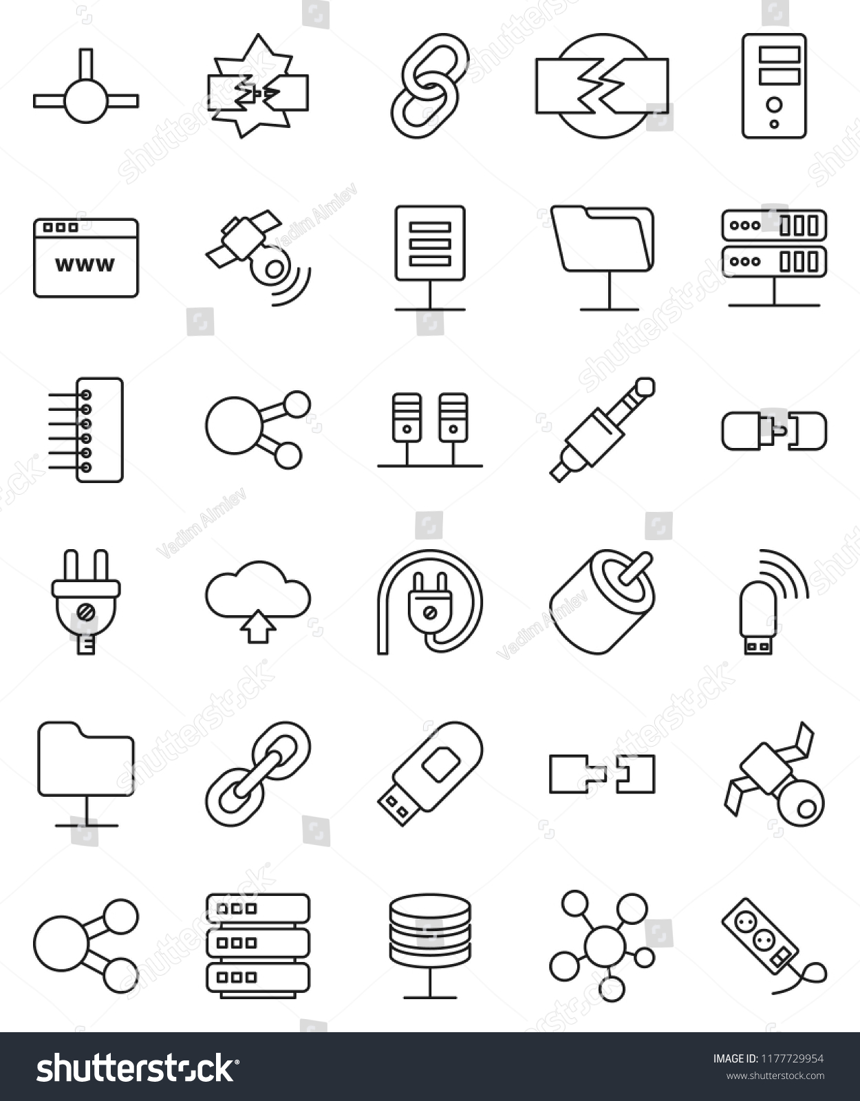 Thin Line Vector Icon Set Satellite Stock Royalty Free Usb To Rca Jack Wiring Satellitie Social Media Link