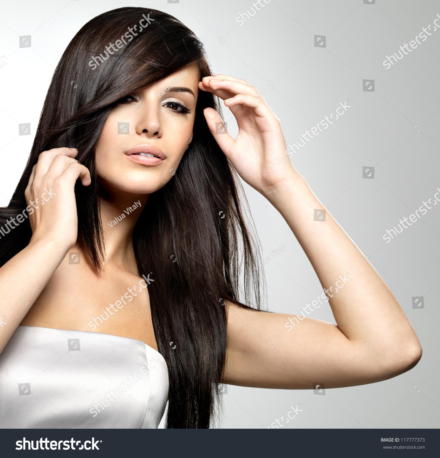 Astounding Woman Beauty Long Straight Hair Pretty Stock Photo 117777373 Hairstyles For Women Draintrainus