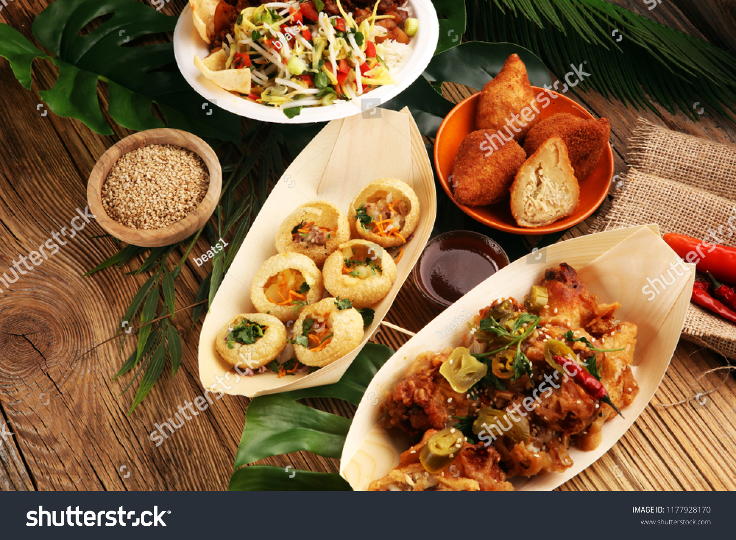 Various Street Food Pani Puri Chicken Stock Photo Edit Now