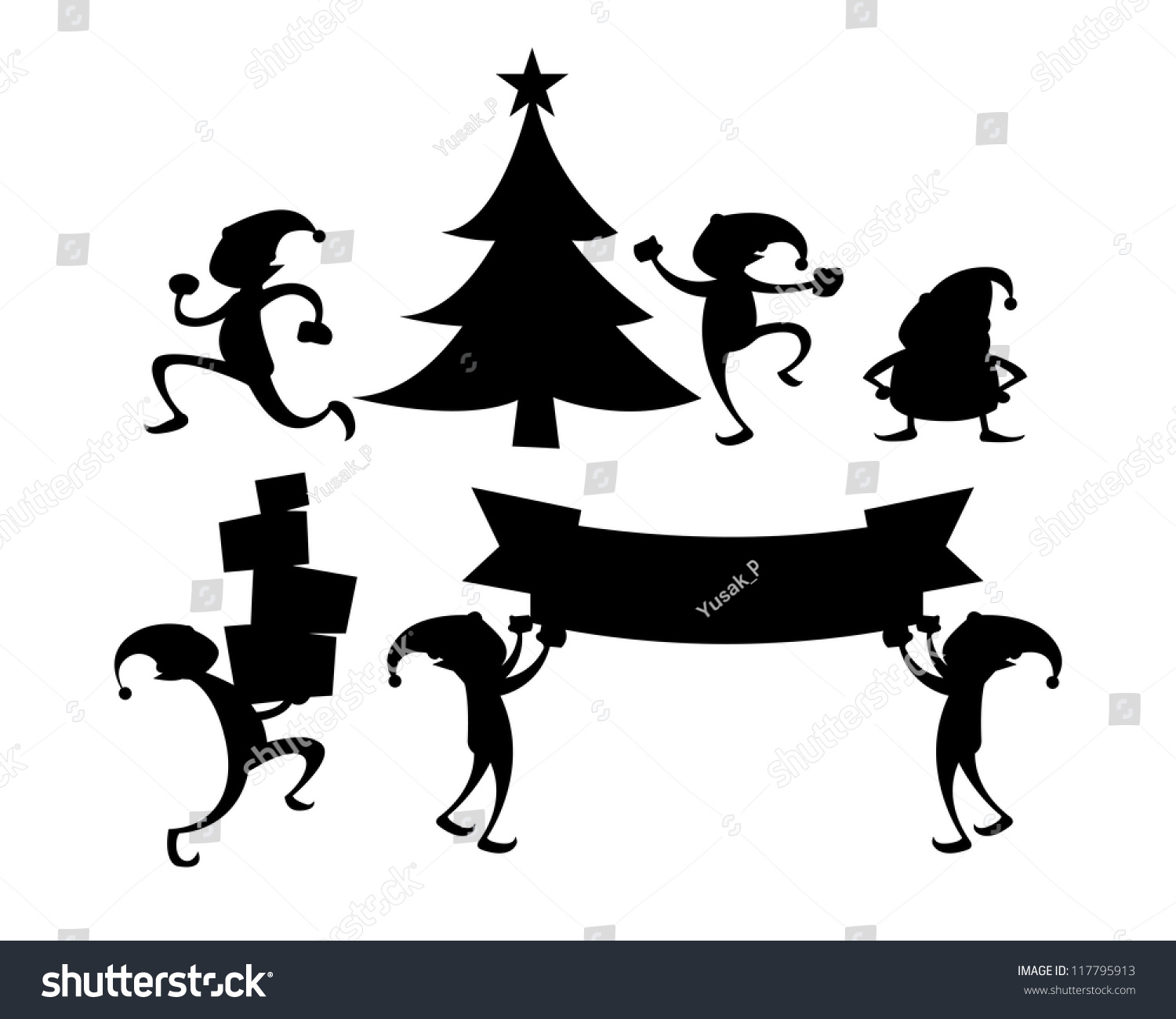 collection christmas elf silhouette character n stock vector
