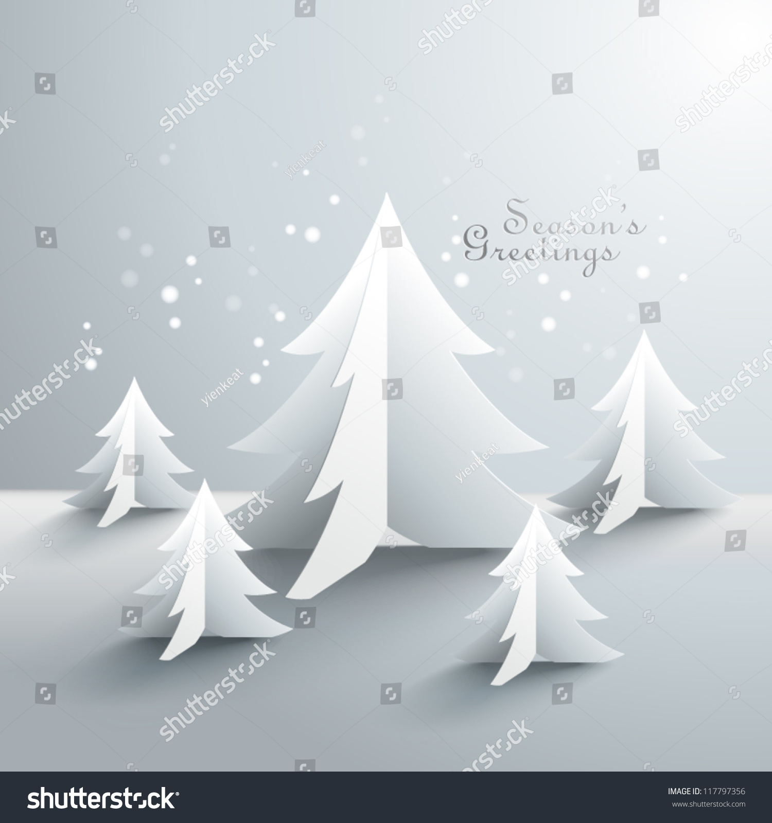 Abstract 3d Paper Christmas Trees Stock Vector 117797356 ...