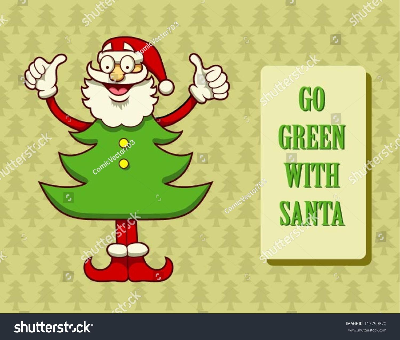 Go Green Santa Christmas Card Design Stock Vector Royalty Free