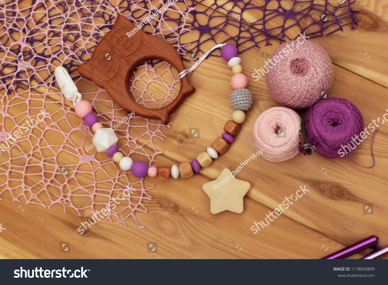 Flat Lay Crocheted Baby Pacifier Holder Stock Photo Edit Now