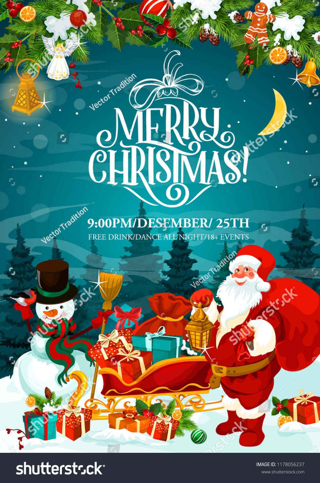 Merry Christmas Greeting Card Xmas Party Stock Vector (Royalty Free)  1178056237