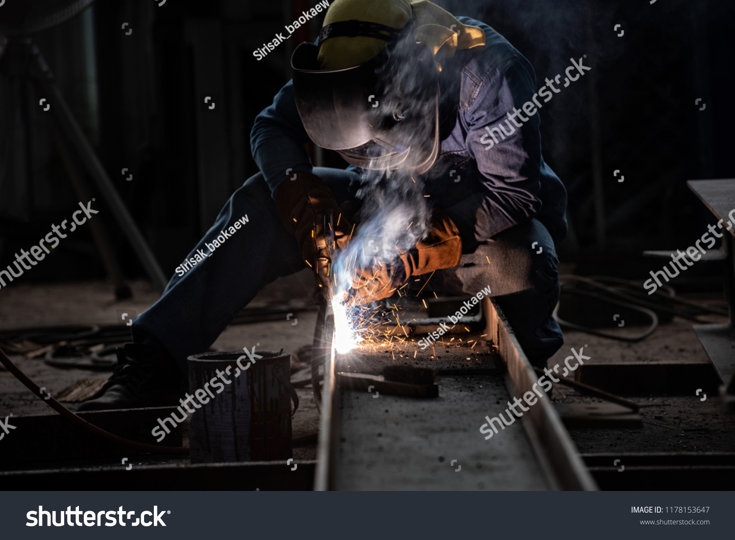 Welding Sparks By Process Fluxed Cored Stock Photo (Edit Now) 1178153647