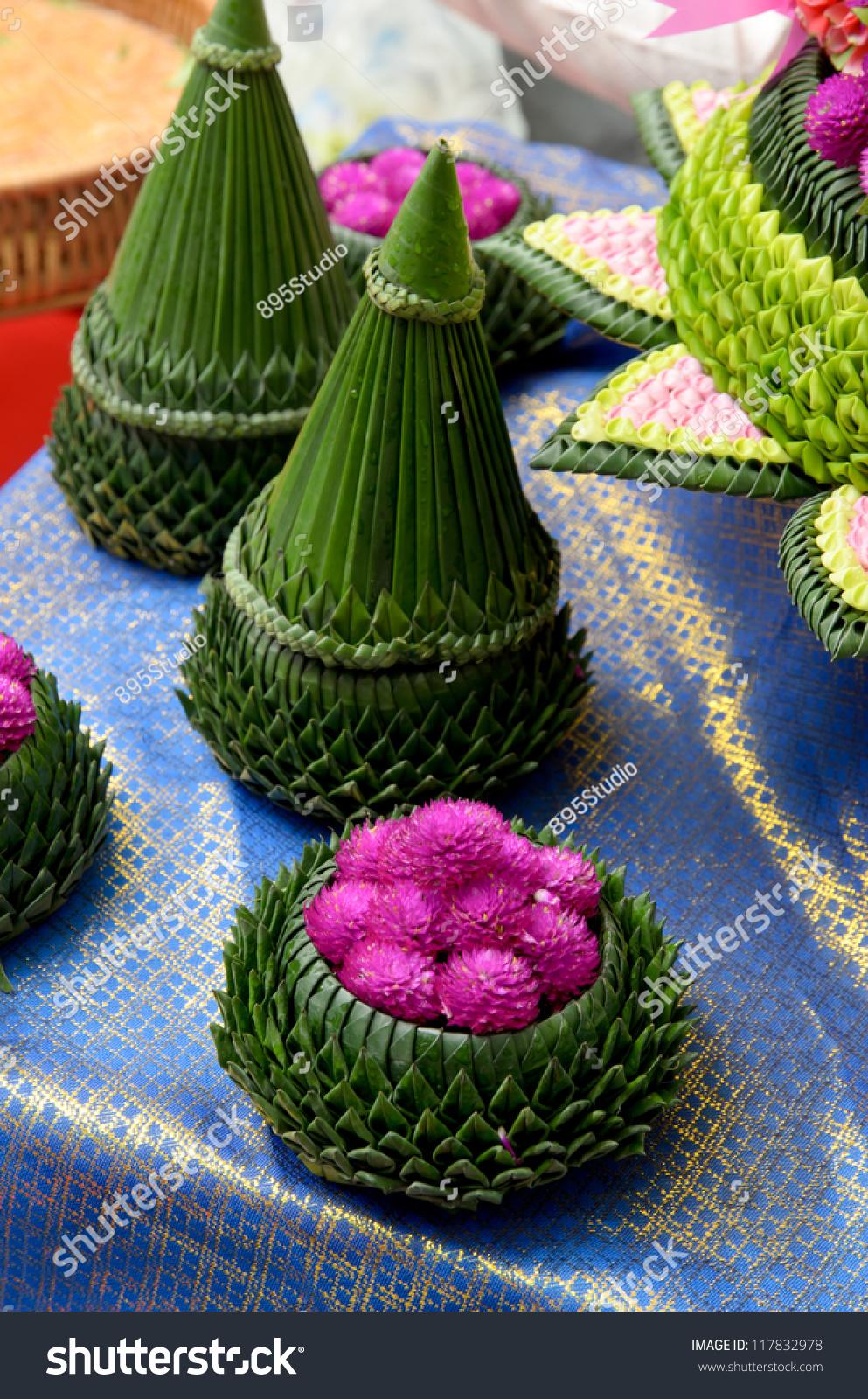 flower in banana leaf art handwork thai style stock photo. Black Bedroom Furniture Sets. Home Design Ideas