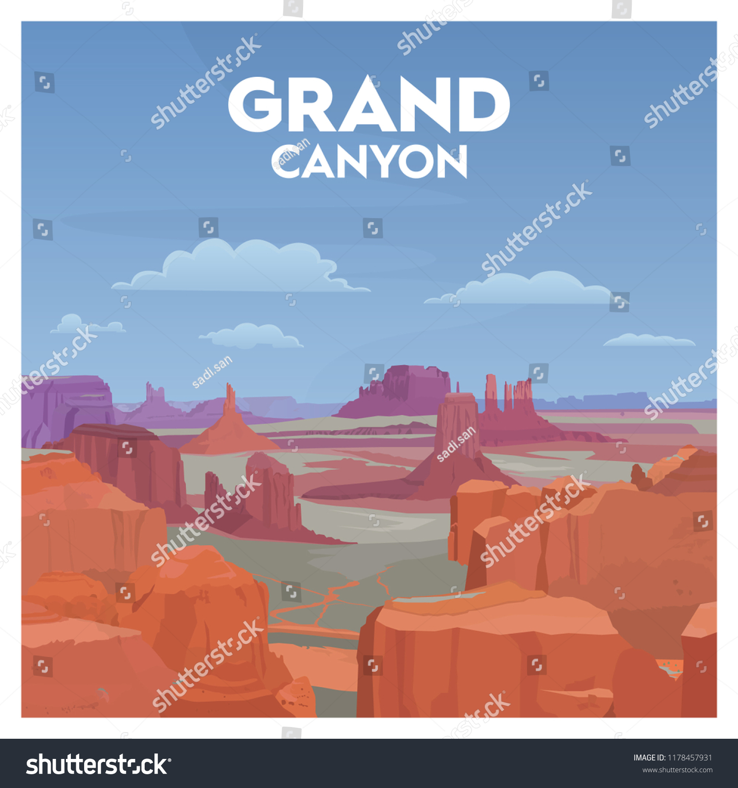 Grand Canyon National Park of USA America Purple Orange Mountain Desert