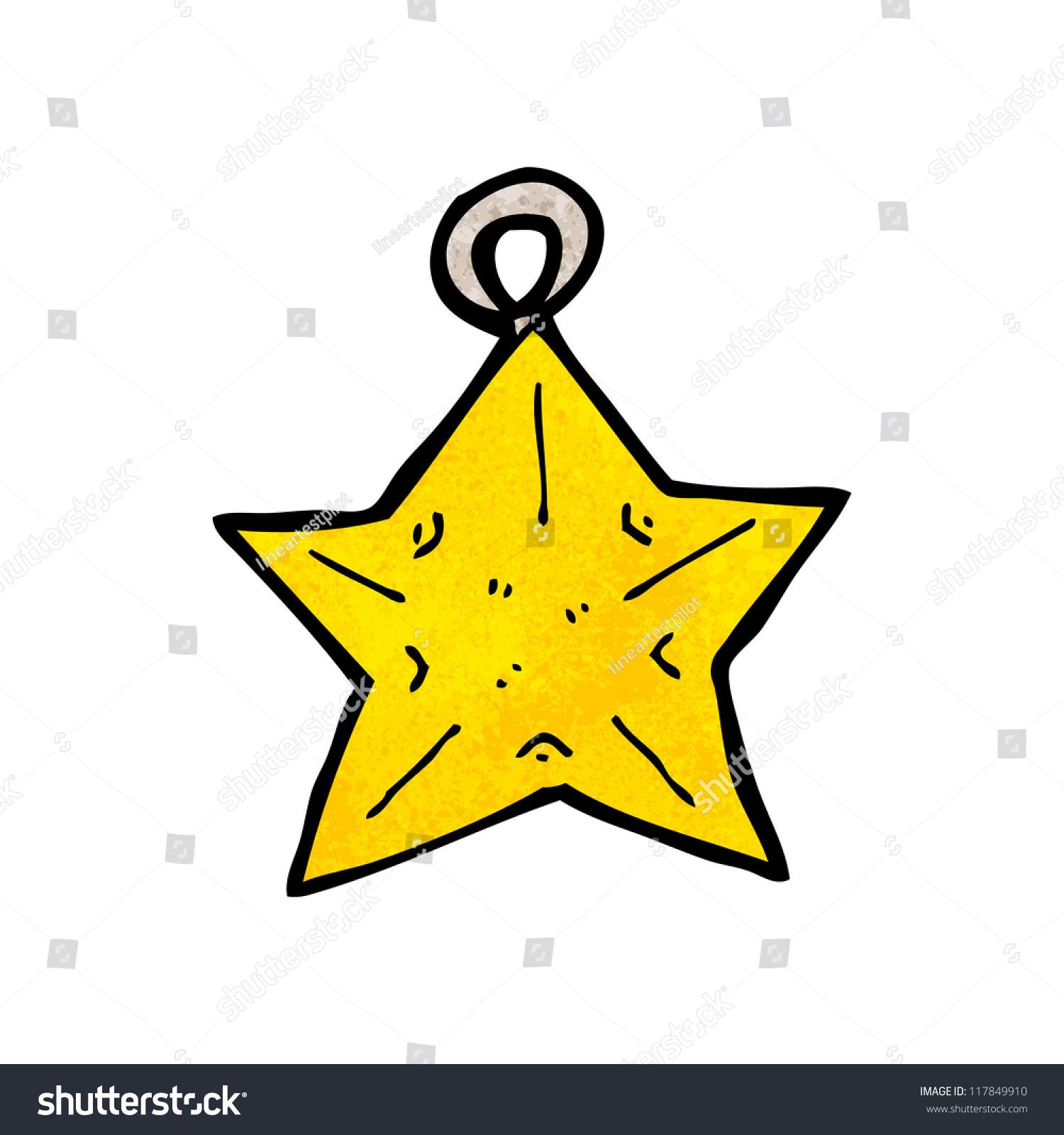 Cartoon star shaped christmas tree bauble stock vector