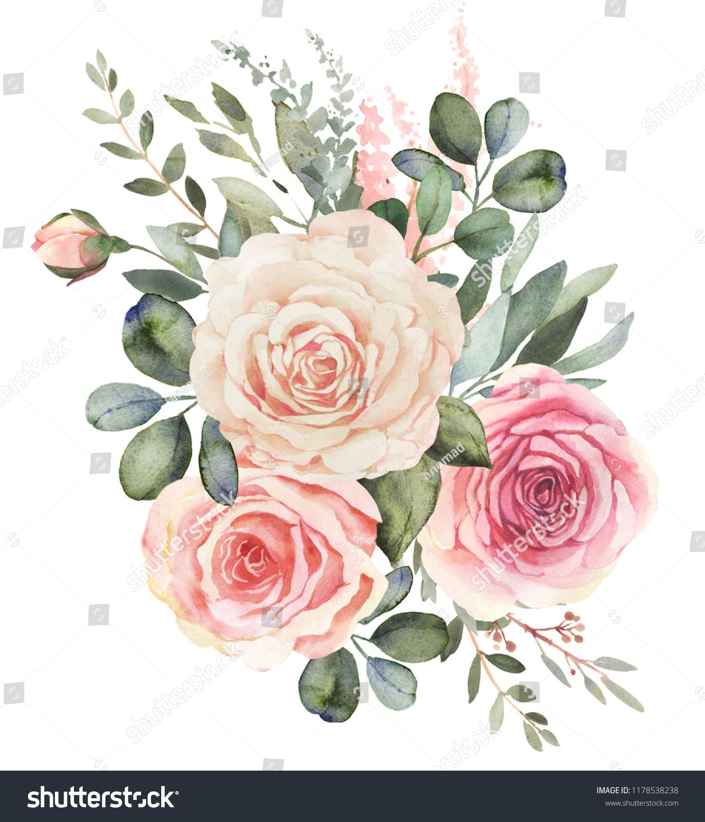 Watercolor Floral Bouquet Composition Roses Eucalyptus Stock