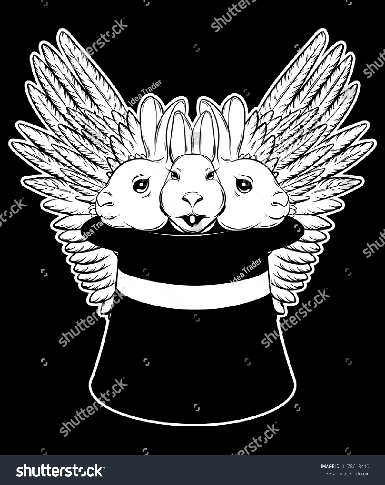 c064a079b582 Vector hand drawn illustration of three rabbits in top hat isolated.  Creative tattoo artwork. Template for card, poster, banner, print for t- shirt, pin, ...