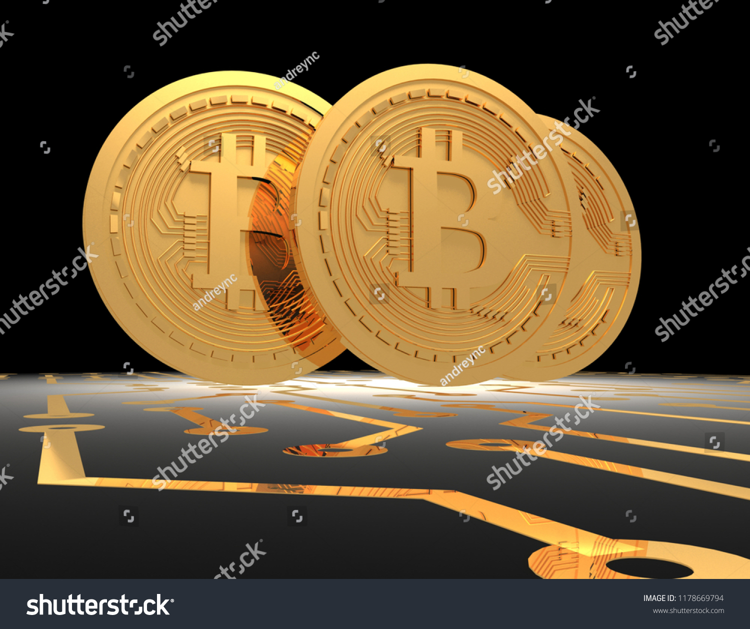 Bitcoins On Printed Circuit Board 3 D Stock Illustration 1178669794 Pcb The Printedcircuitboard 3d Royalty Free Photography Rendered