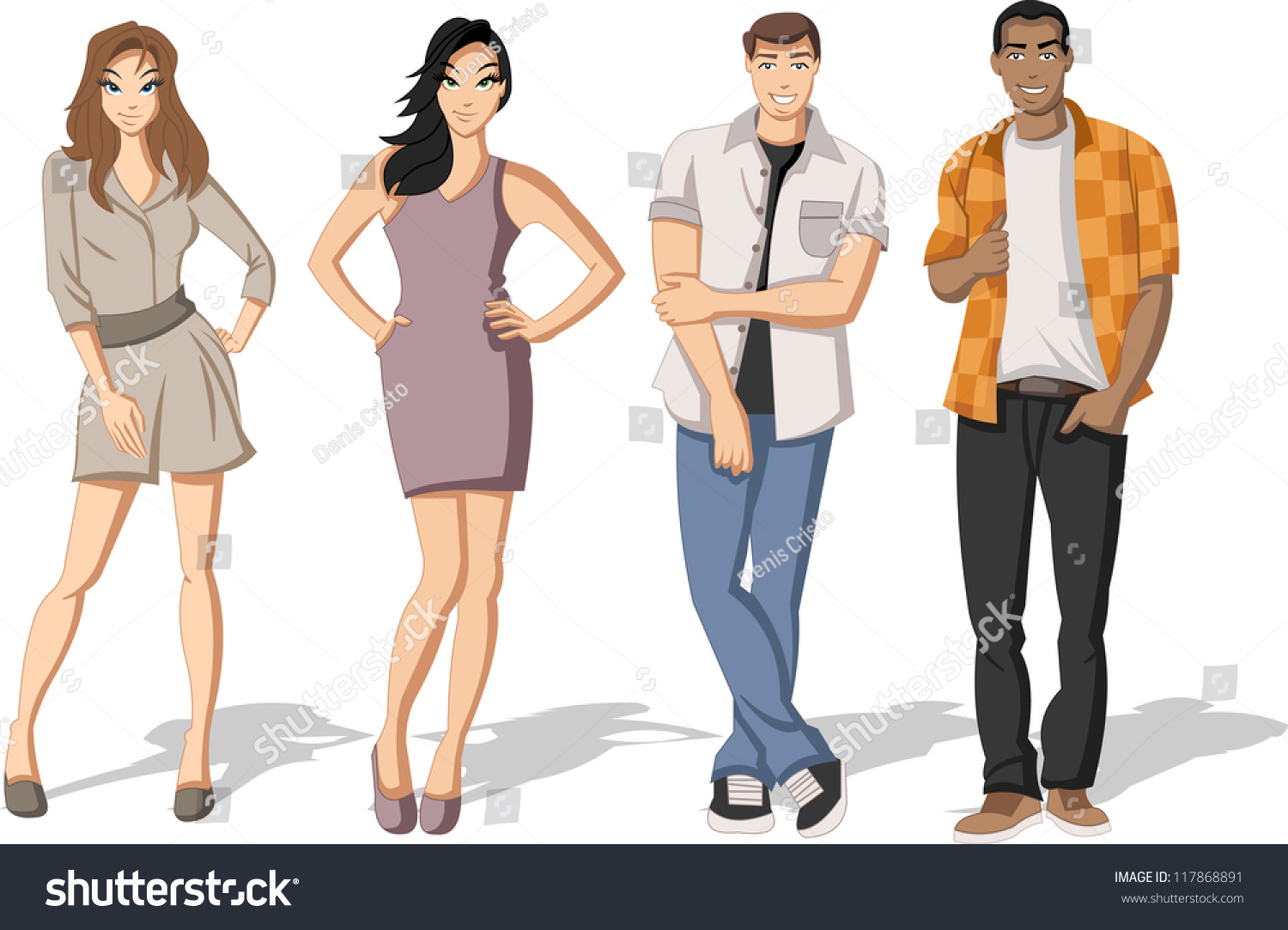 Group Fashion Cartoon Young People Teenagers Stock Vector 117868891 Shutterstock