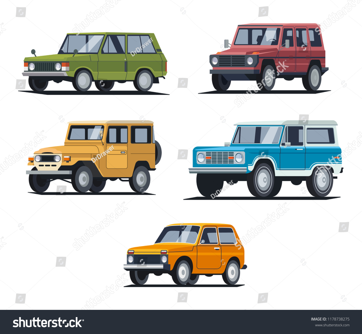 Different Retro Classic Suv Car Vehicles Stock Vector Royalty Free 1178738275
