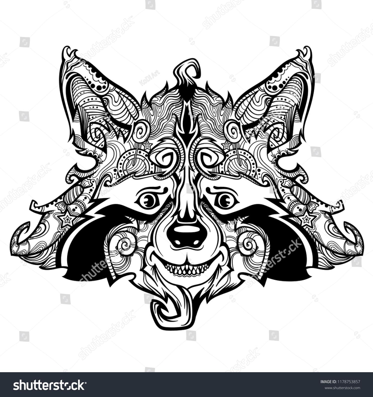 Raccon face line art vector cartoon creative illustration isolated on background funny and cute animal face vector