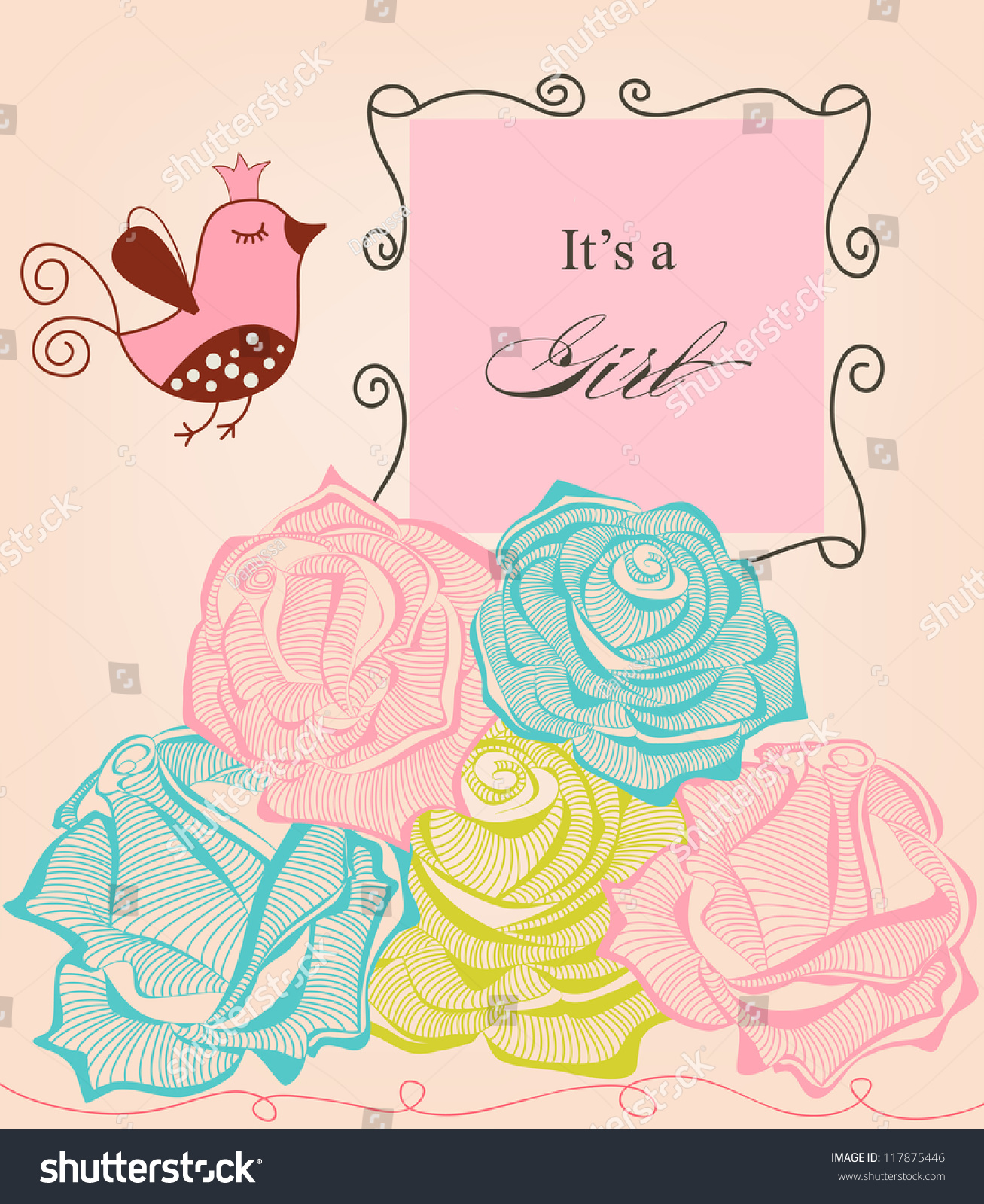 Floral Baby Girl Shower Roses Cute Stock Vector 117875446 ...