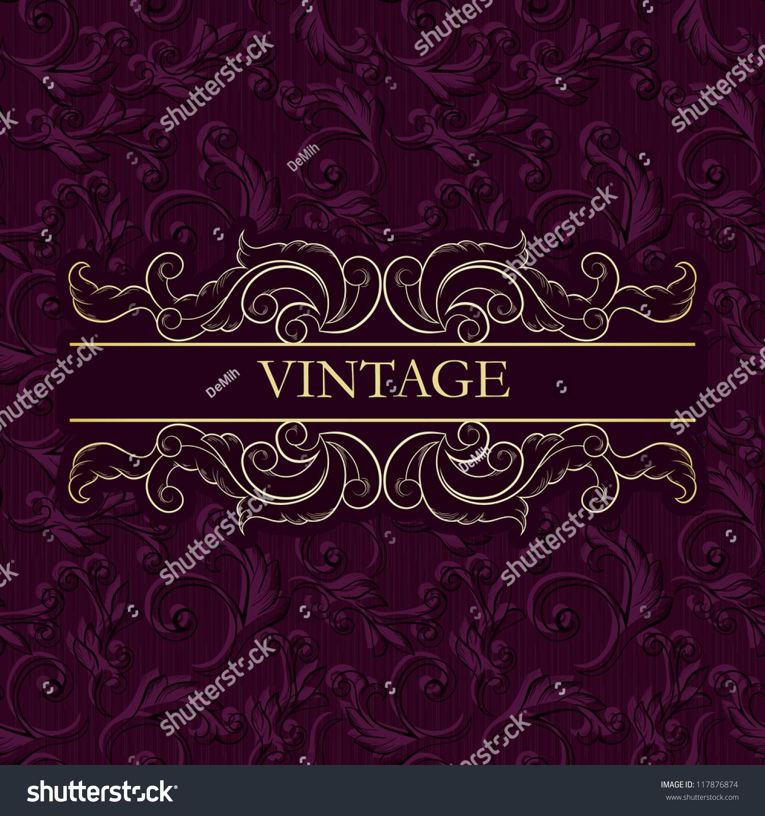 Vintage frame on seamless vintage wallpaper stock vector 117876874 vintage frame on seamless vintage wallpaper business card menu invitation etc floral magicingreecefo Images