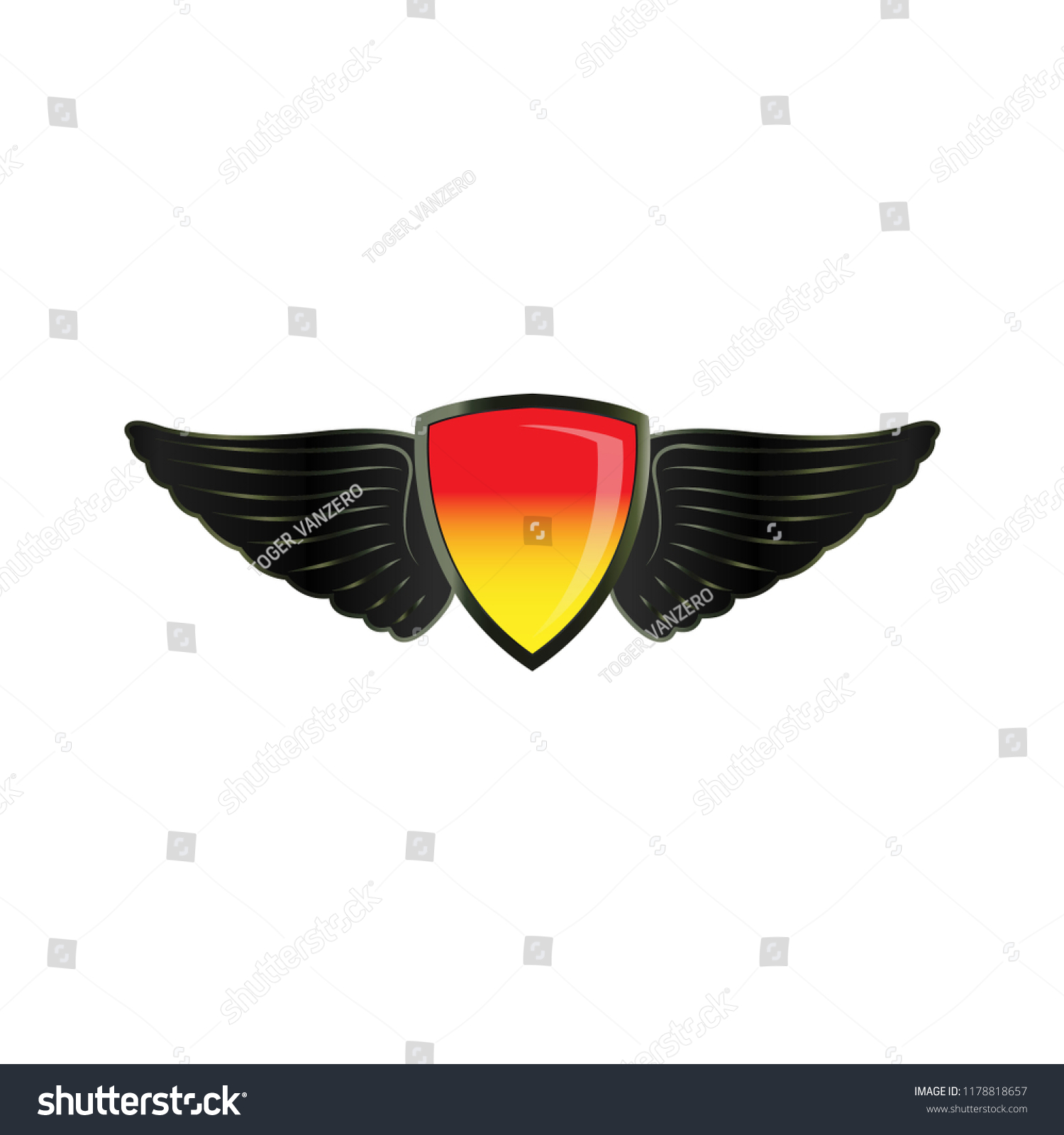 Wing On Shield Logo Icon Design Stock Vector Royalty Free