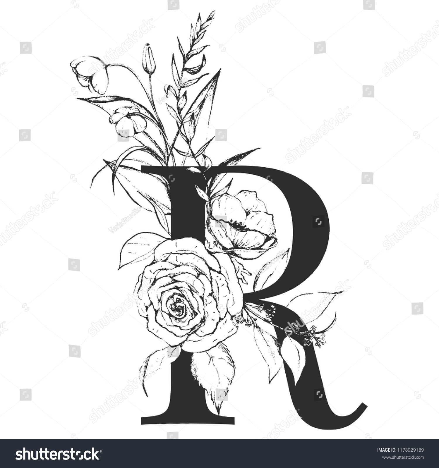 Graphic Floral Alphabet Letter R Black Stock Vector Royalty Free