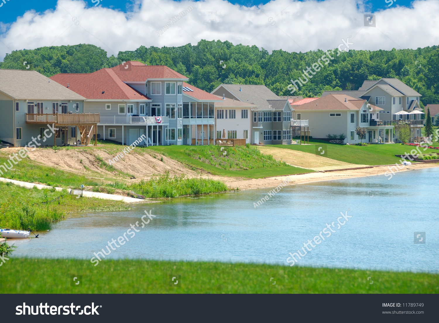 Luxury lakeside homes in summer beautiful vinyl siding Luxury home builders usa