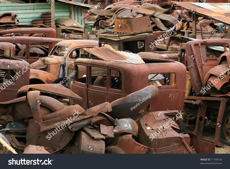 Junk Yard Vintage Cars Stock Photo (Royalty Free) 11790136 ...