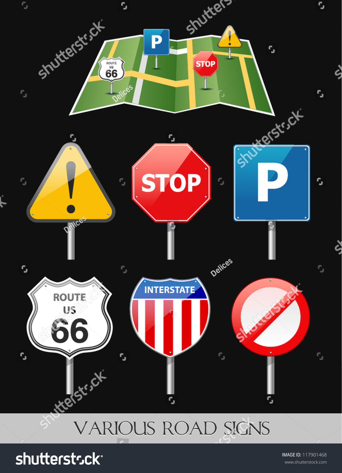 Image Of Various Road And Highway Signs And Navigation Map Vector – Road Navigation Map