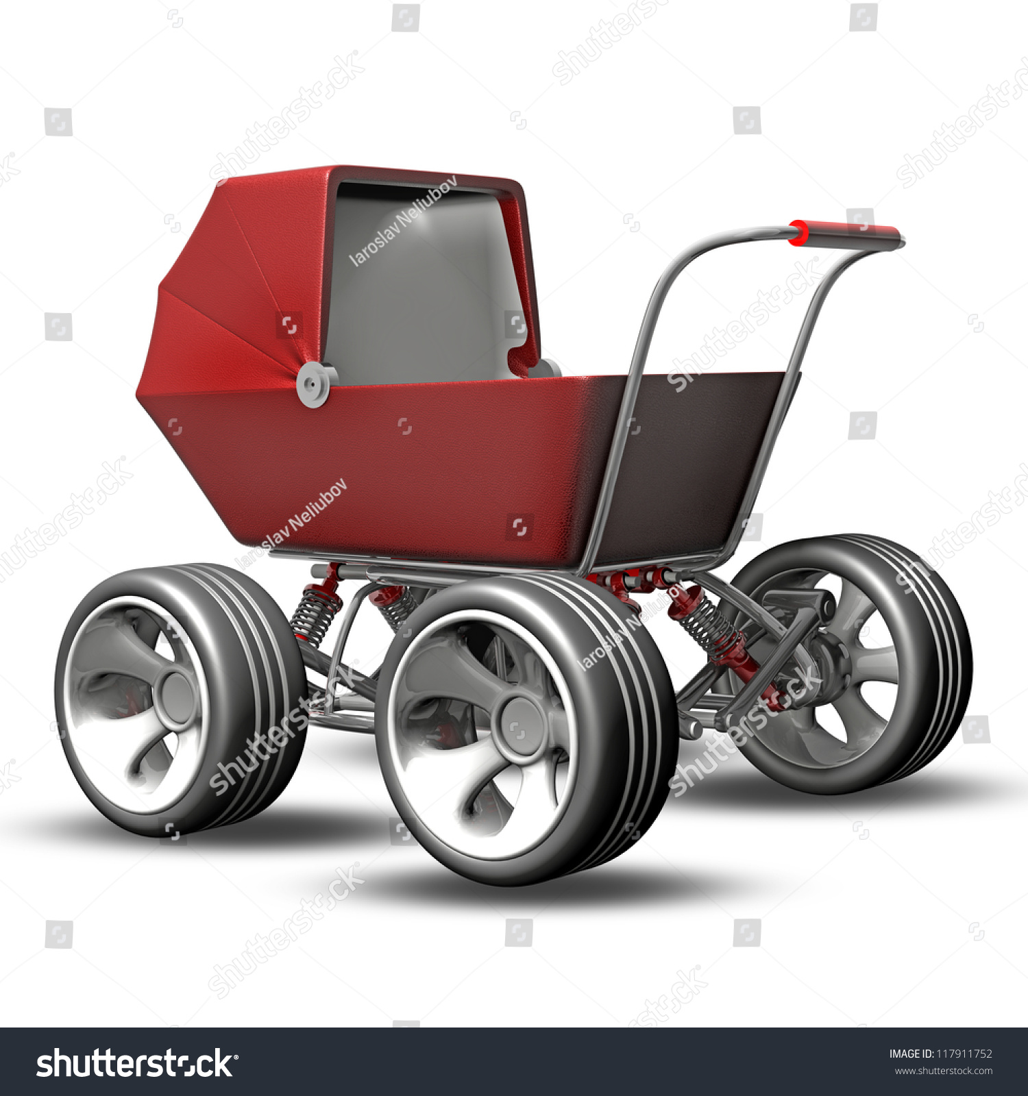 Baby super carriage big car wheel stock illustration for Car carriage