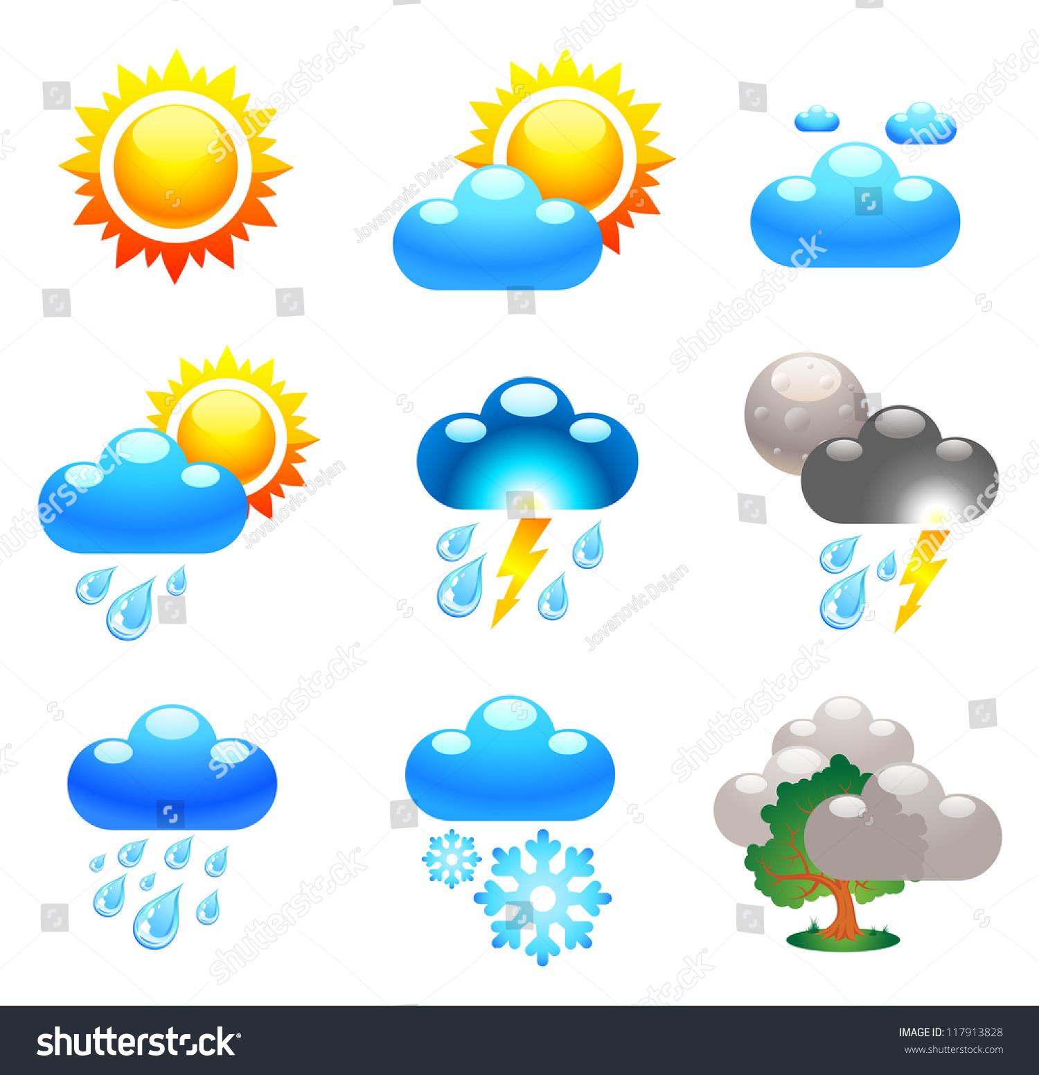 Symbols Which Represent Weather Conditions Stock Vector Royalty