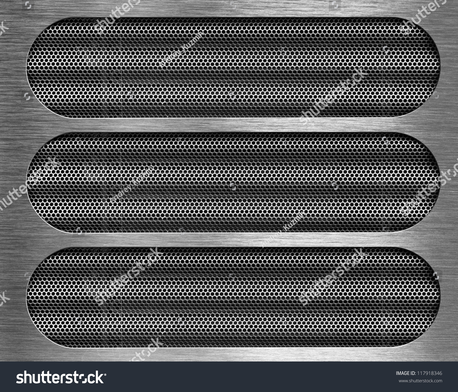 Three holes in metal plate over grid background stock for A shear pleasure pet salon