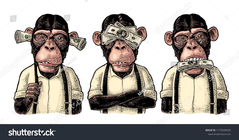 3 Monos Sabios Tatuajes vector de stock (libre de regalías) sobre tres monos sabios