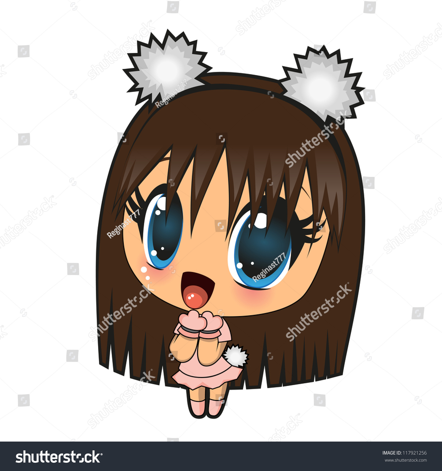 Anime Characters Vector : Cute anime girl isolated on a white background stock