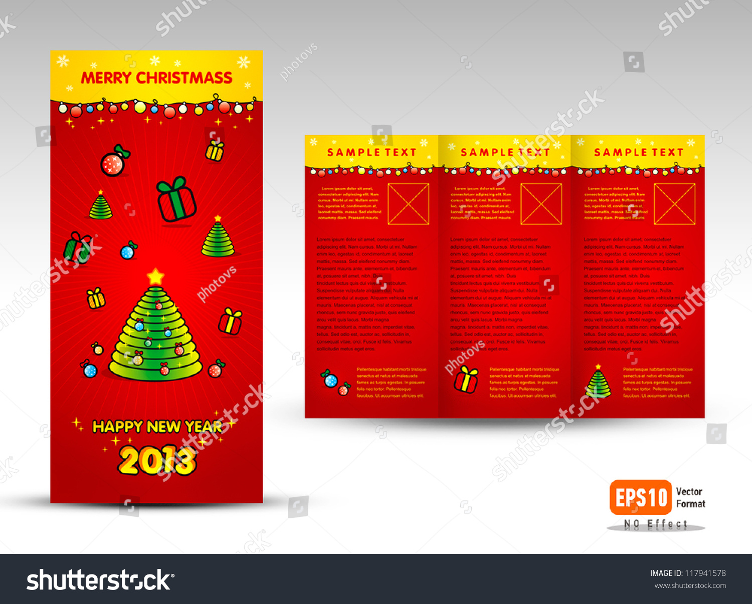 Brochure christmas tri fold vector layout design template for Christmas brochure template