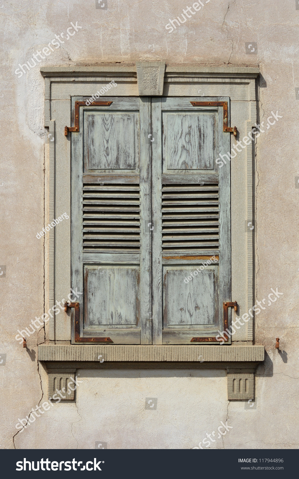 Wood Shutters Closed : Wooden window shutters closed old shuttered weathered